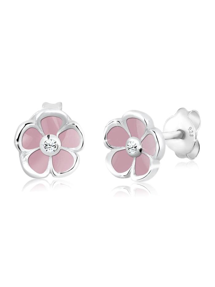 Elli Ohrringe Kinder Blume Floral Kristall 925 Silber, Rosa