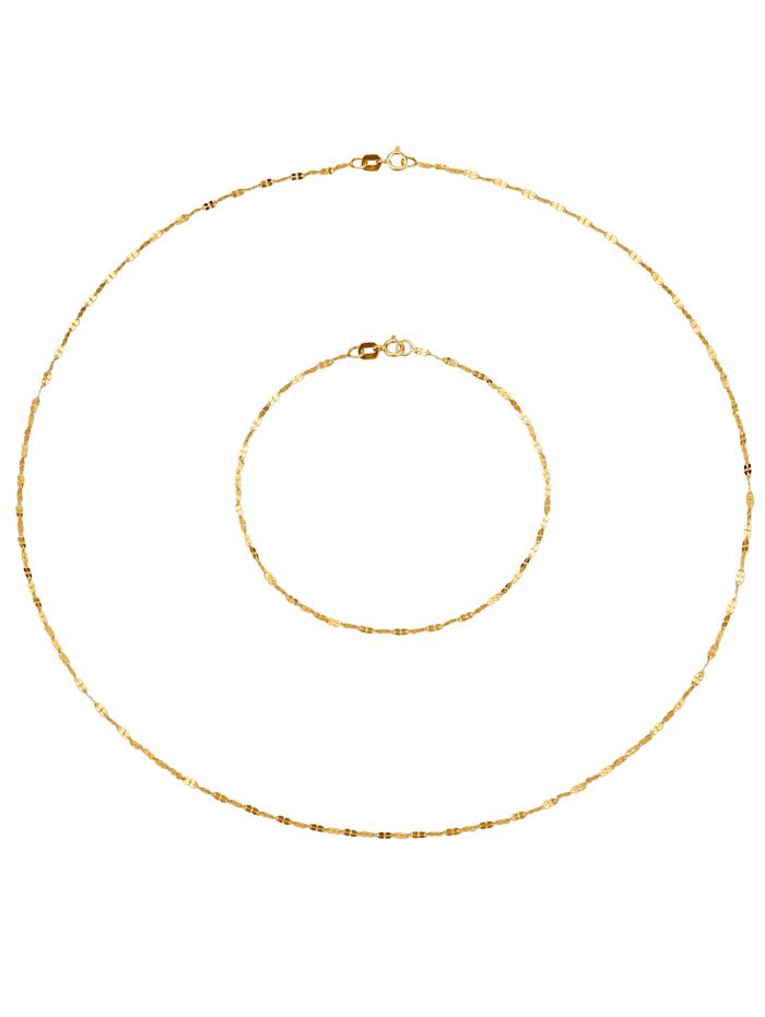 2tlg. Schmuck-Set in Massiv Gelbgold