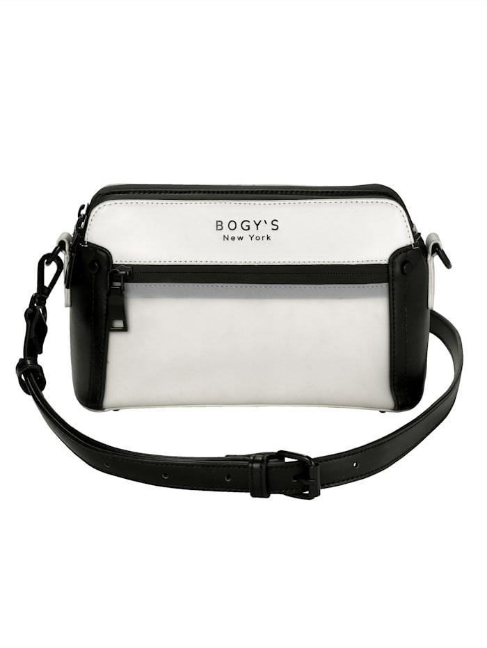 BOGY´S Brooklyn NY Kabelka z kvalitného soft materiálu, biela/čierna