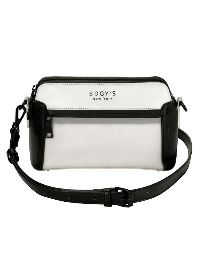 BOGY´S Brooklyn NY Umhängetasche aus hochwertigem Softmaterial, weiß/schwarz