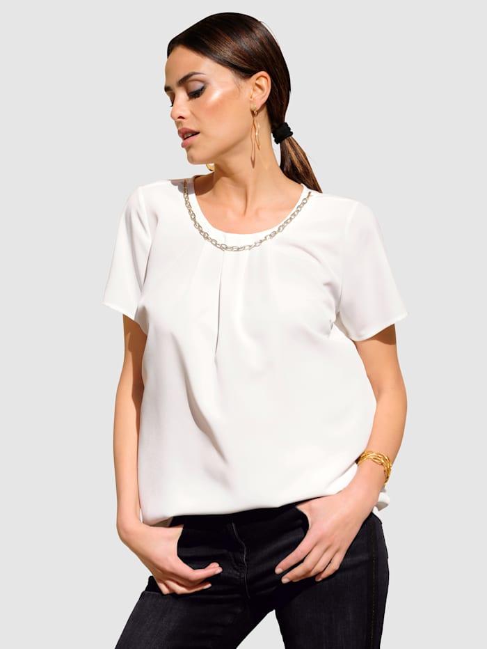 Alba Moda Bluse mit effektvoller Kette am Ausschnitt, Off-white