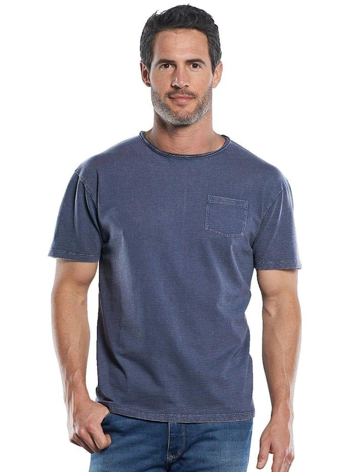 Engbers Strukturiertes T-Shirt mit Rollkante am Kragen, Indigoblau