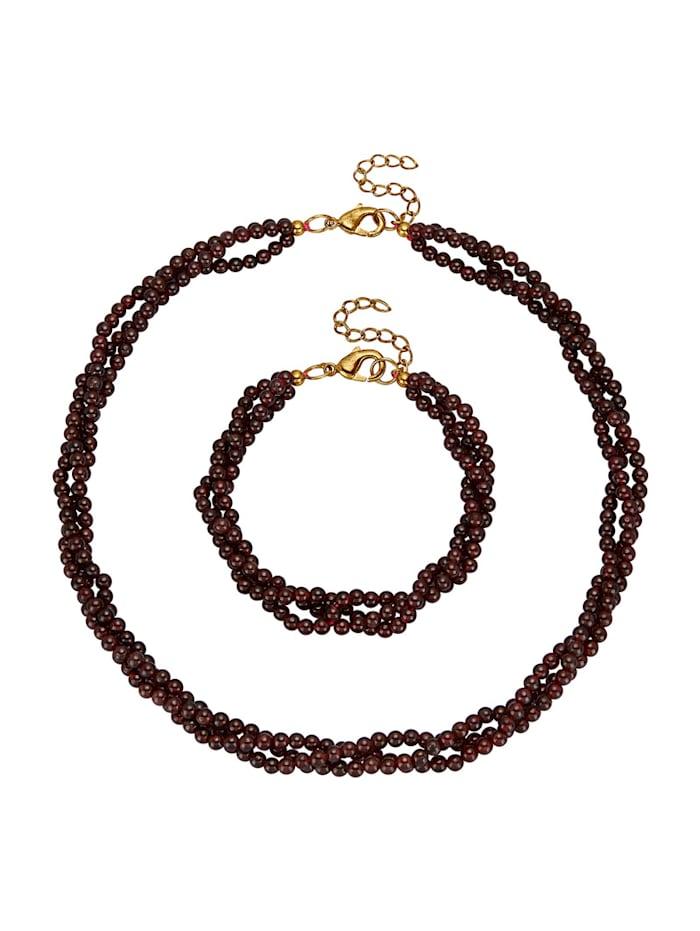 2tlg. Schmuck-Set aus Granat-Steinen, Rot