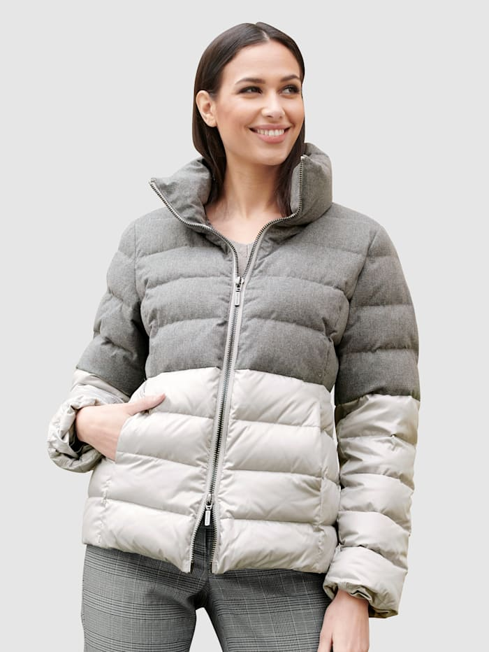 Alba Moda Jacke im Colourblocking-Dessin, Grau