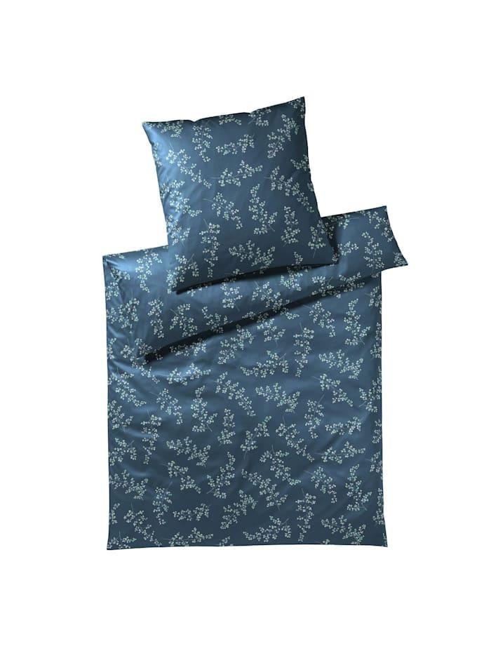 Elegante Mako-Satin Bettwäsche Leaflets bleu, bleu