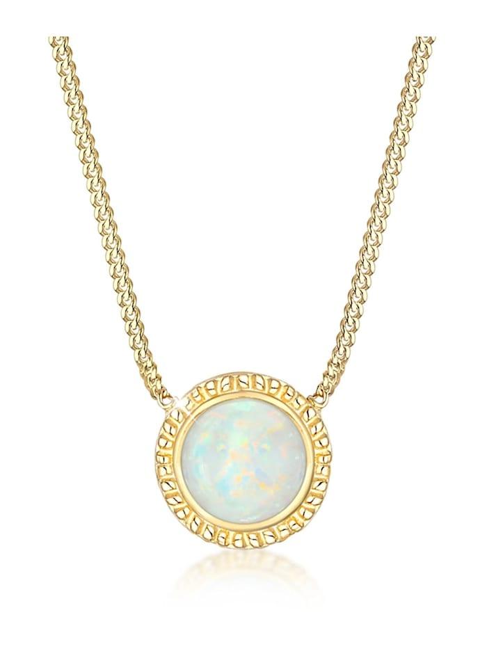 Elli Halskette Vintage Boho Synthetischer Opal Trend 925Er Silber, Gold