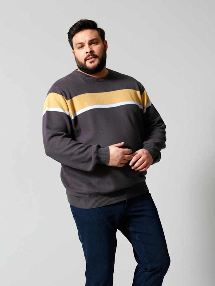 Men Plus Pullover Spezialschnitt Spezialschnitt, Braun/Hellblau