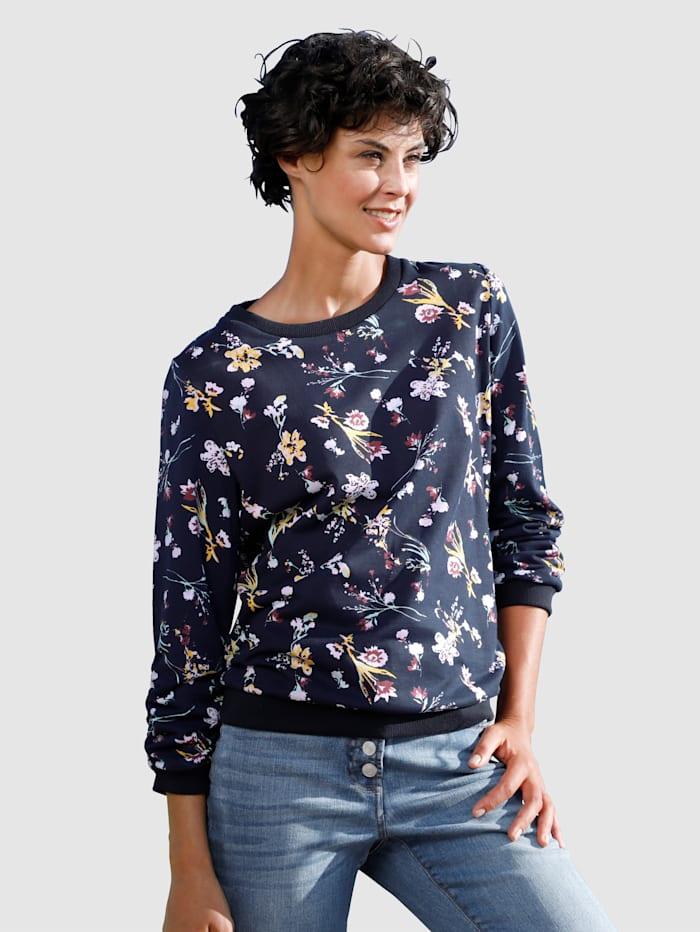 Dress In Sweatshirt met bloemendessin, Marine