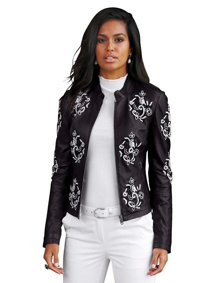 AMY VERMONT Veste en cuir à motifs de fleurs en perles fantaisie, Noir