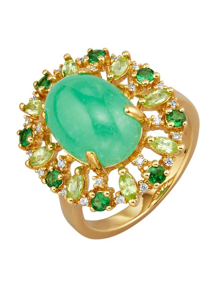 Bague en argent 925, doré avec jade (trait.), péridots, tsavorites et zirconia, Coloris or jaune