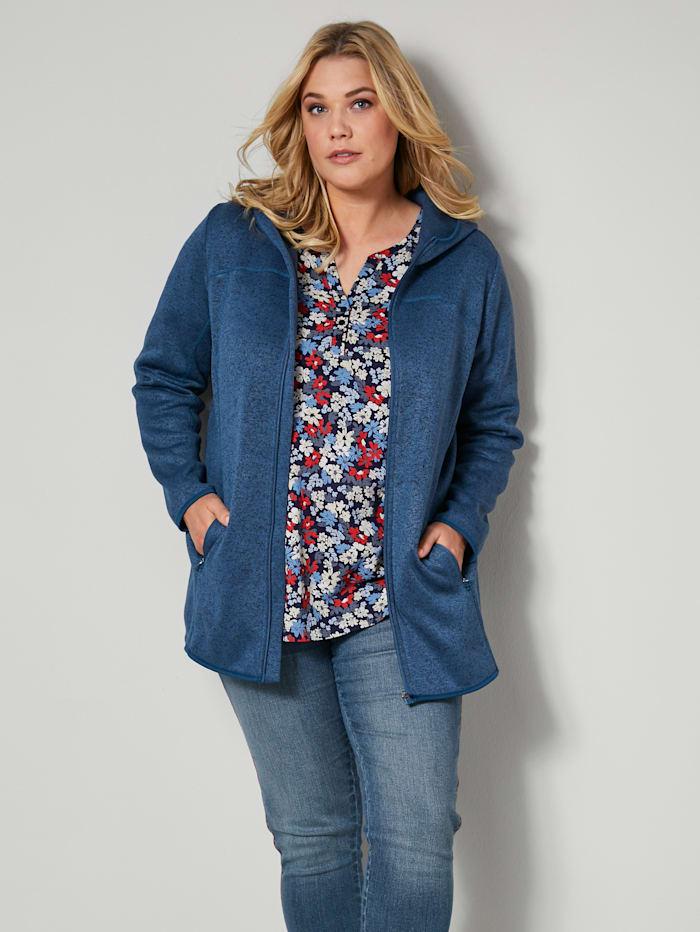 Janet & Joyce Fleece vest met capuchon, Blauw/Zwart