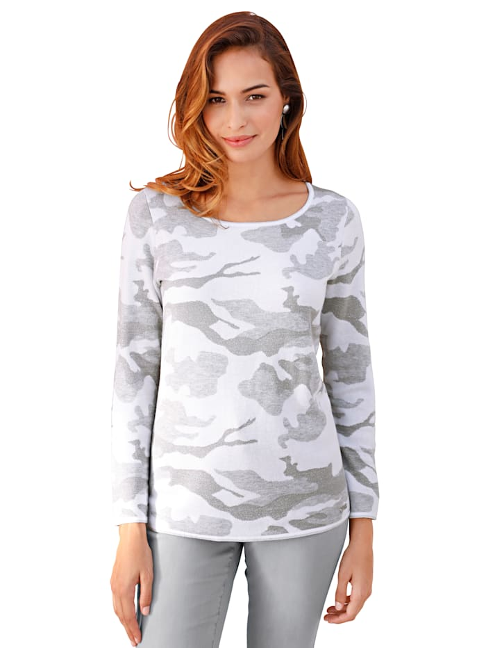 AMY VERMONT Pullover in Jacquard in Camouflage Optik, Off-white/Anthrazit