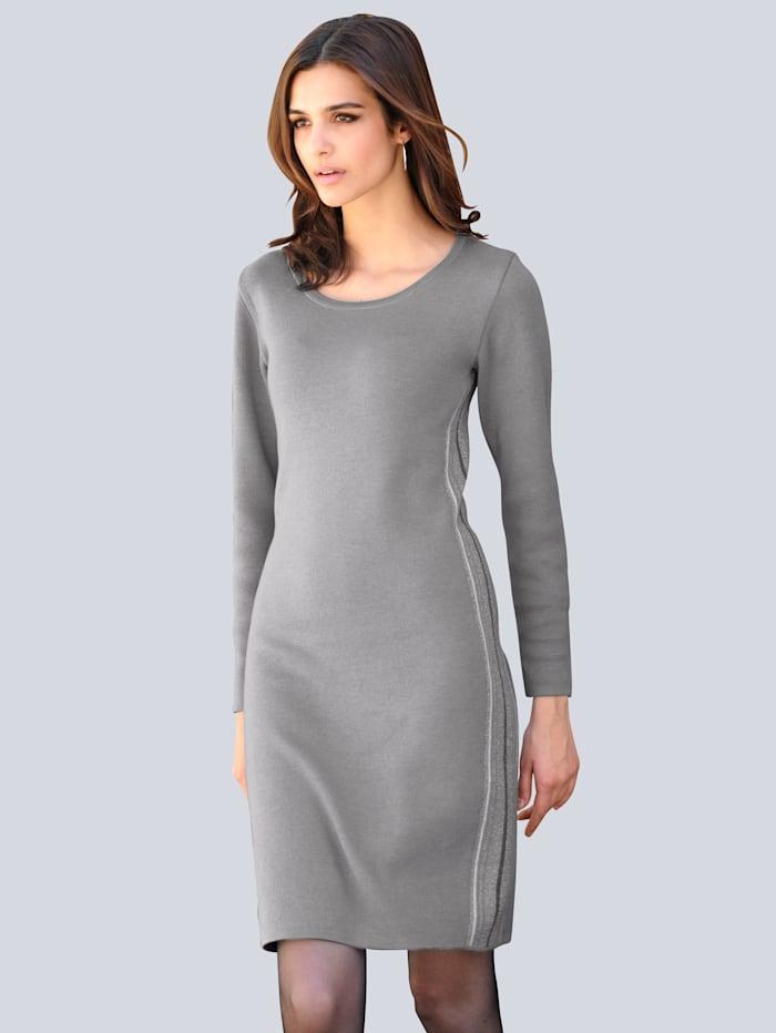 Alba Moda Strickkleid mit Glanzgarn, Grau/Off-white/Silberfarben