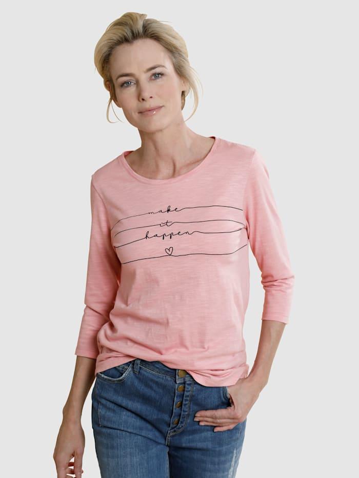 Dress In Shirt mit modernem Druck, Rosé
