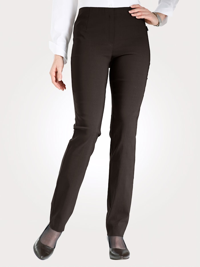 MONA Pull-on trousers made from a soft stretch fabric, Brown