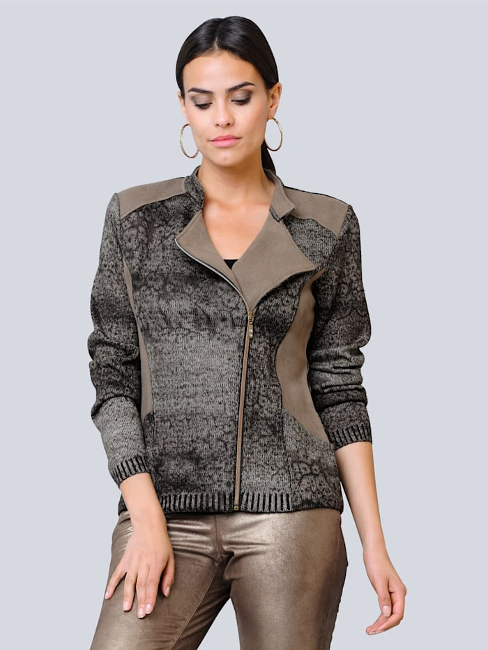 Alba Moda Strickjacke in modischer Bikerform, Sand/Schwarz