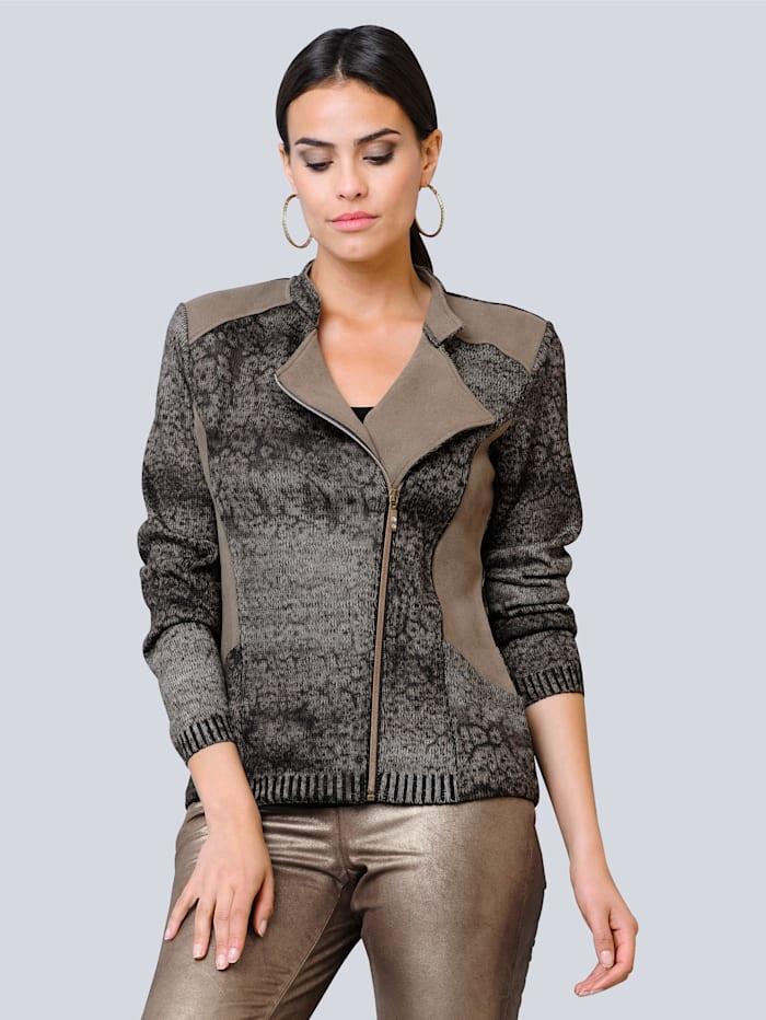 Alba Moda Vest in trendy bikerstyle, Zand/Zwart
