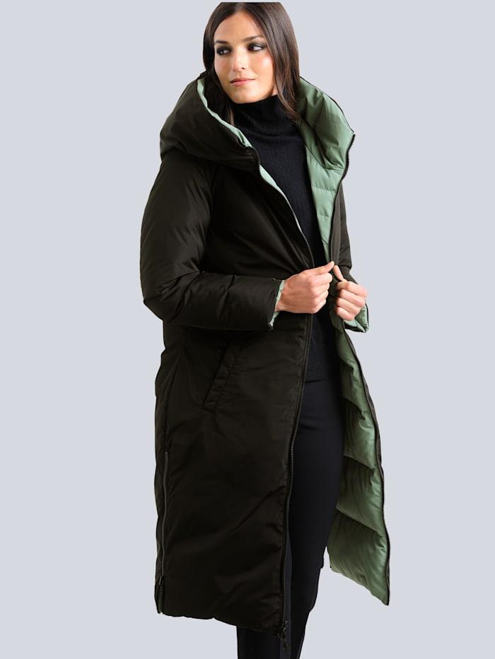 Alba Moda Manteau matelassé à fonction réversible, se porte des deux côtés, Vert/Noir