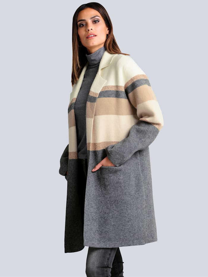 Alba Moda Strickjacke in modischer und komfortabler Longform, Off-white/Anthrazit/Beige