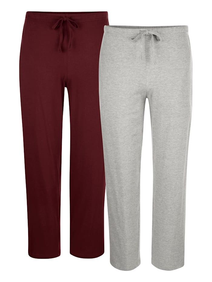 Pantalons de pyjama, Bordeaux/Gris