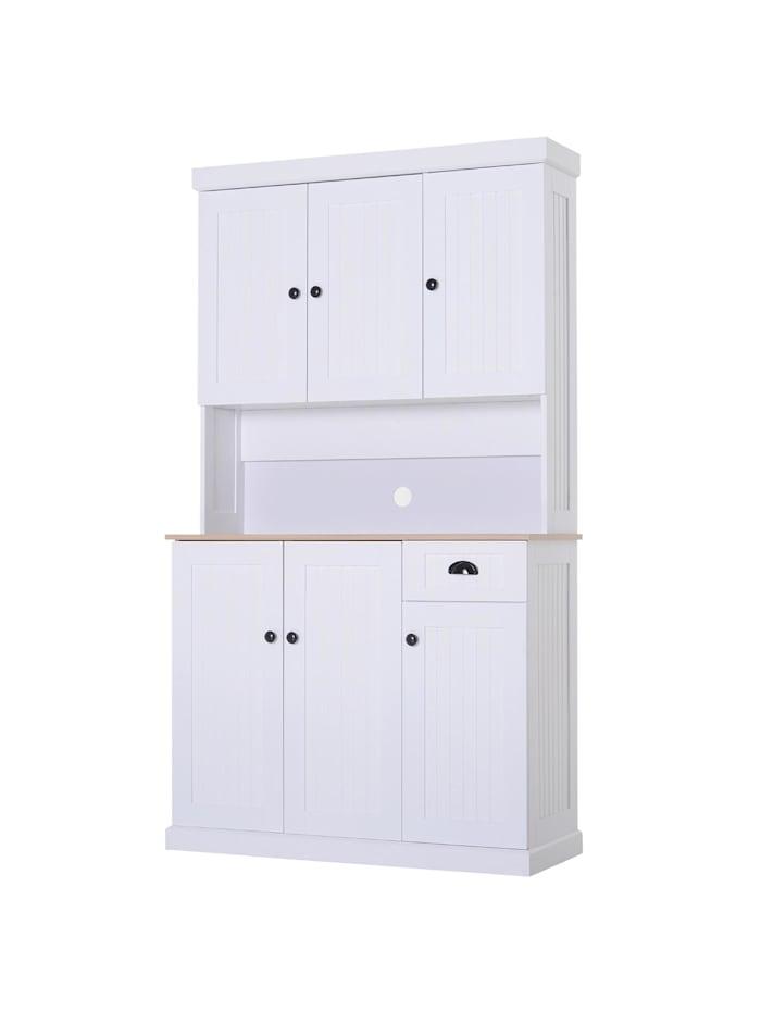 HOMCOM Küchenschrank mit Arbeitsplatte, weiß