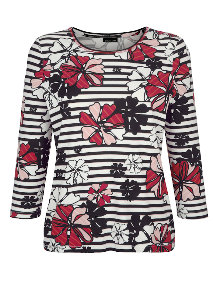 Top in bold mixed print