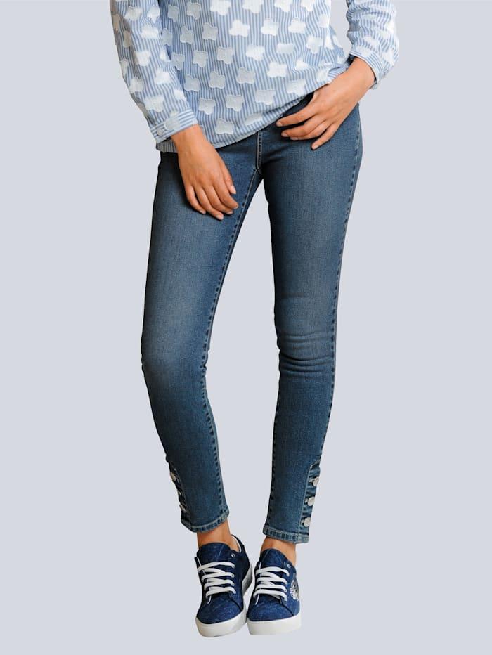 Alba Moda Jeans mit dekorativen Knöpfen am Saum, Blue stone