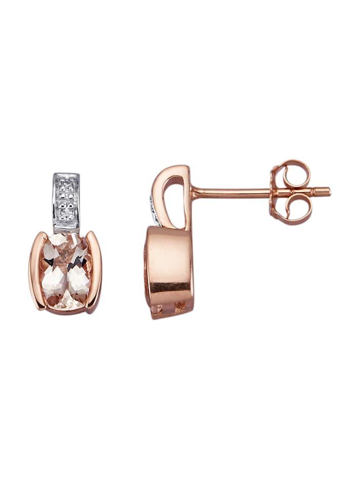 Boucles d'oreilles en or rose 375, Rose