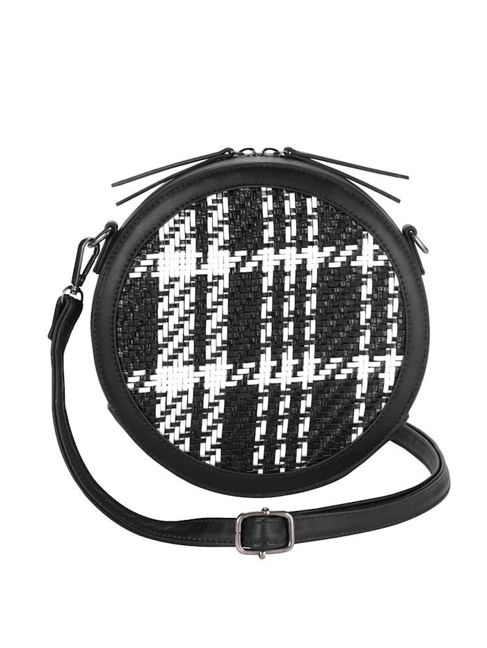 Turned Love Sac à bandoulière avec empiècement textile, Noir/blanc