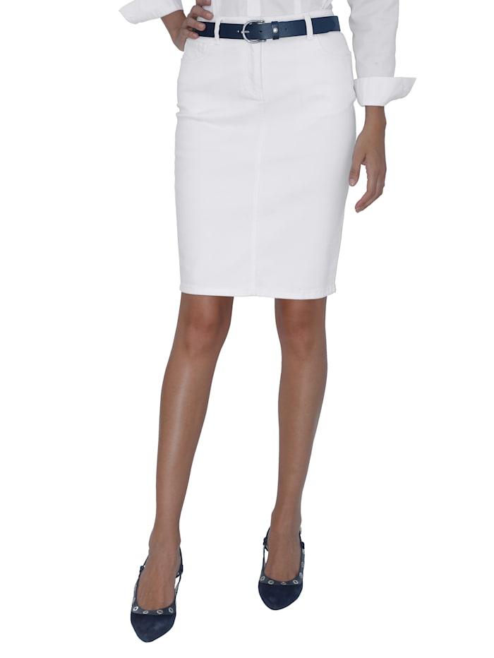 AMY VERMONT Jupe en jean de coupe 5 poches, Blanc