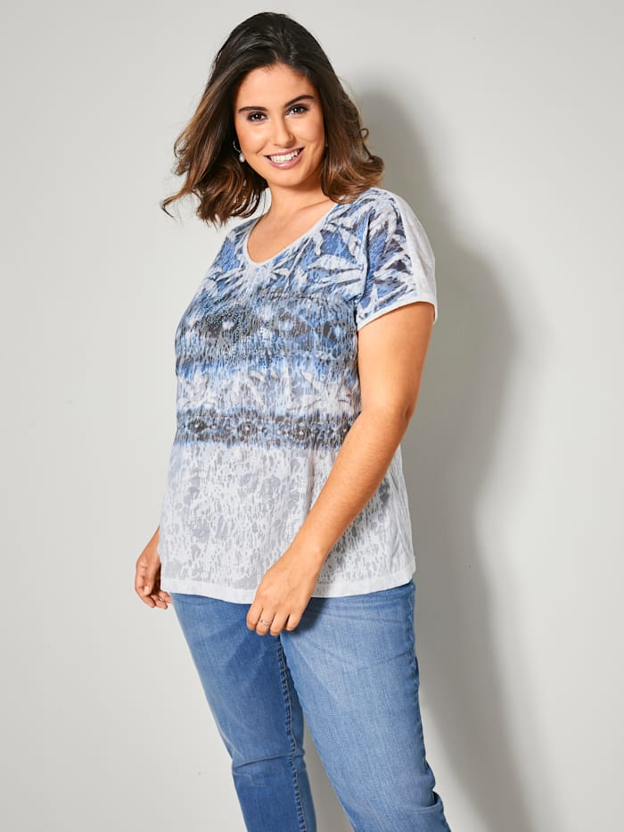 Sara Lindholm Shirt in Ausbrenner-Optik, Weiß/Blau