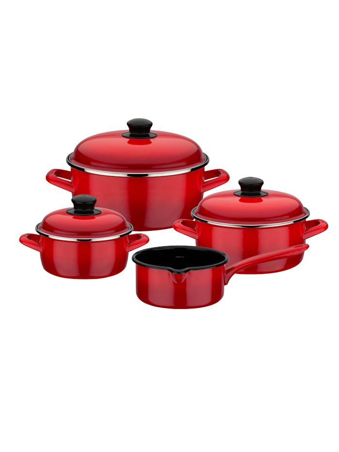 GSW 7-delige pannenset Red Shadow, rood/zwart
