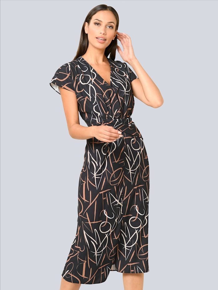 Alba Moda Kleid mit Wickeleffekt, Schwarz/Beige