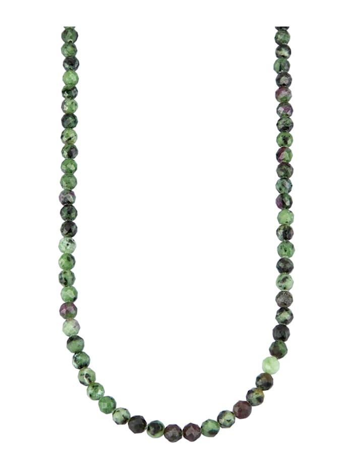 Halskette mit Rubin-Zoisit, Grün