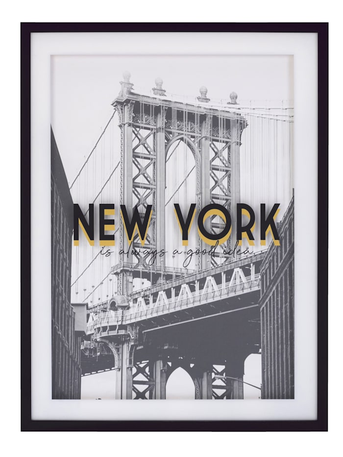 IMPRESSIONEN living Bild, New York, schwarz/weiß/goldfarben