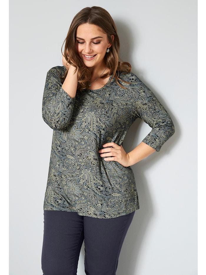 Janet & Joyce Shirt mit Alloverdruck, Marineblau