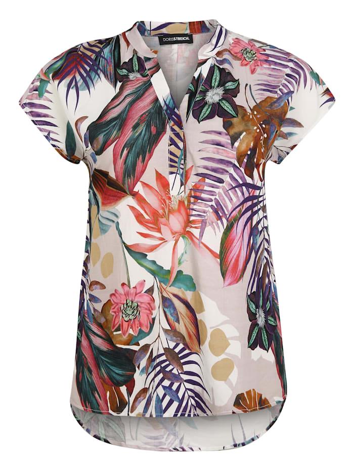 Doris Streich Bluse mit V-Ausschnitt, koralle