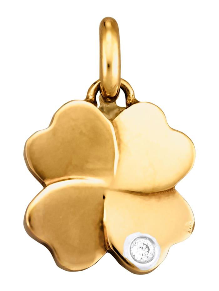 Diemer Diamant Hänge – fyrklöver med diamant, Guldfärgad
