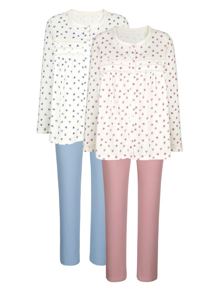Harmony Pyjama's per 2 stuks met fraaie contrasten en bloemendessin, Ecru/Oudroze/Lichtblauw