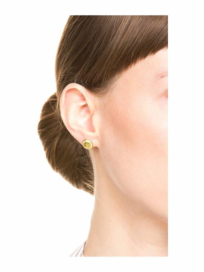 Ohrstecker für Damen, Sterling Silber 925 vergoldet, Zirkonia