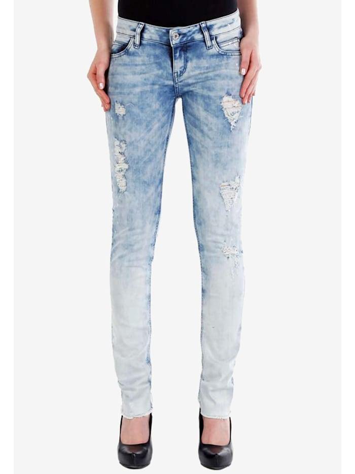 Cipo & Baxx Slim Fit-Jeans mit coolen Used-Details in Skinny Fit, Lightblue
