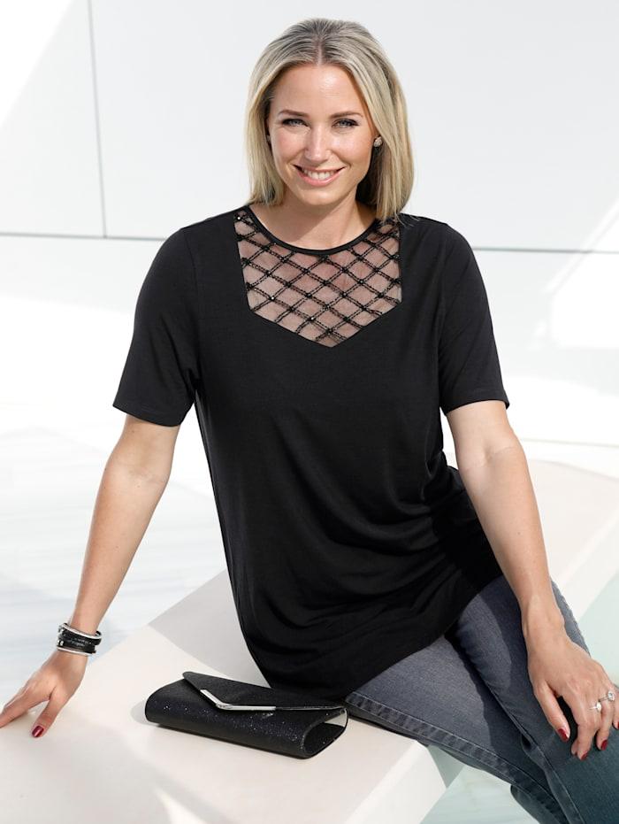Shirt mit Mesh und Perlenstickerei