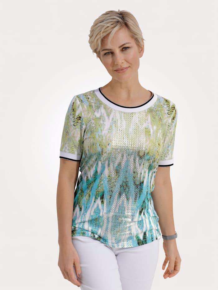 MONA Shirt mit effektvollem Druck in Aquarell- Optik, Türkis/Limettengrün