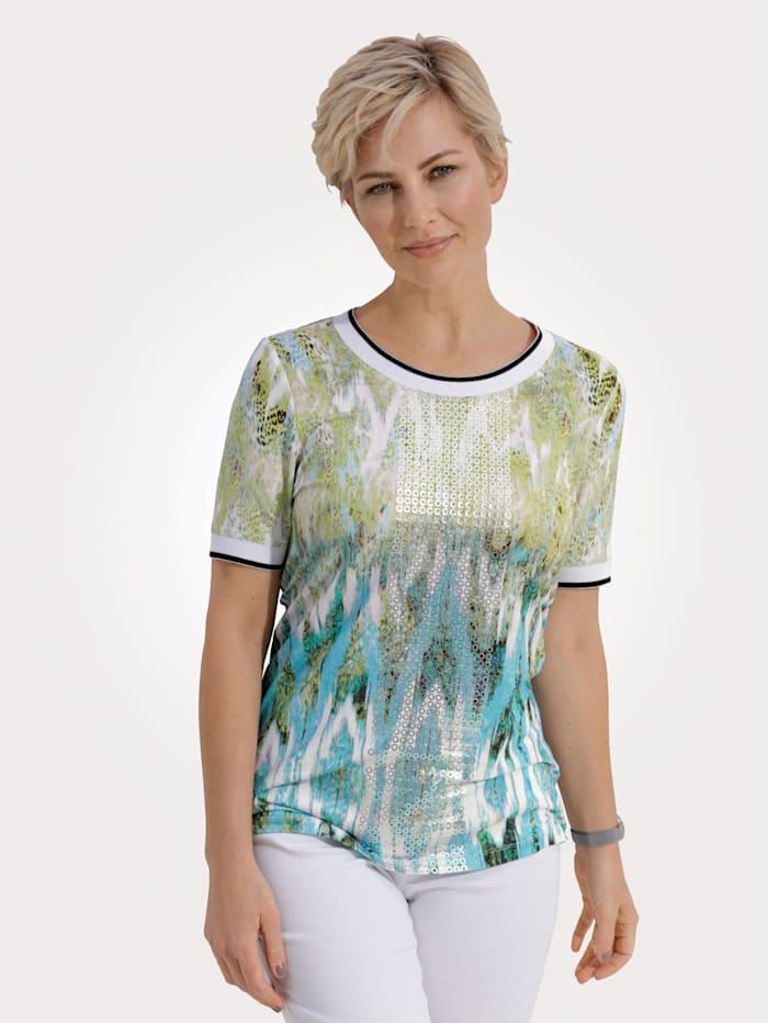 MONA Shirt met trendy print in aquarel, Turquoise/Limoengroen