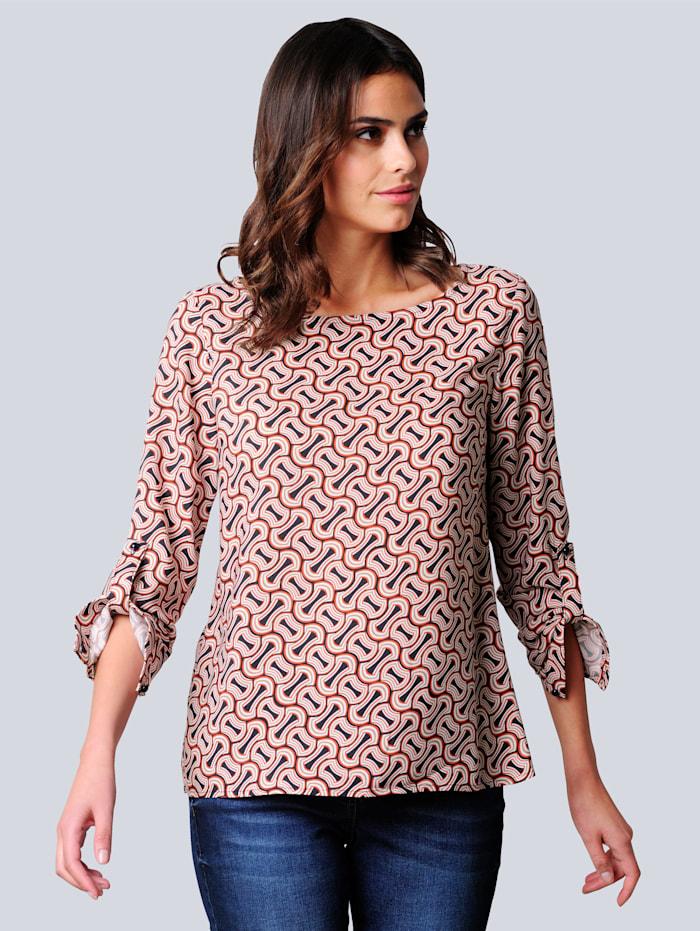 Alba Moda Bluse im exklusiven Dessin nur bei Alba Moda erhältlich, Off-white/Orange/Marineblau