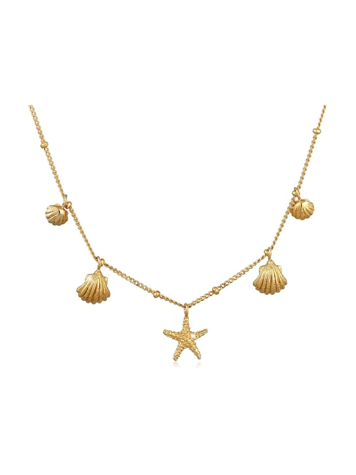 Elli Halskette Muscheln Seestern Kugelkette Maritim 925 Silber, Gold