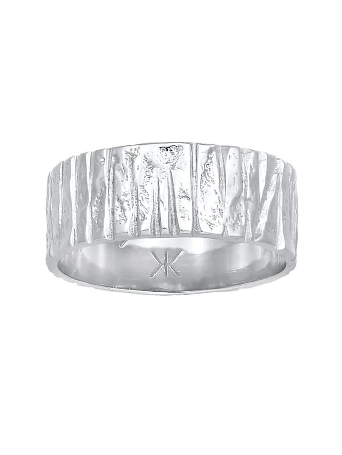Ring Bandring Breit Struktur Gehämmert 925 Silber