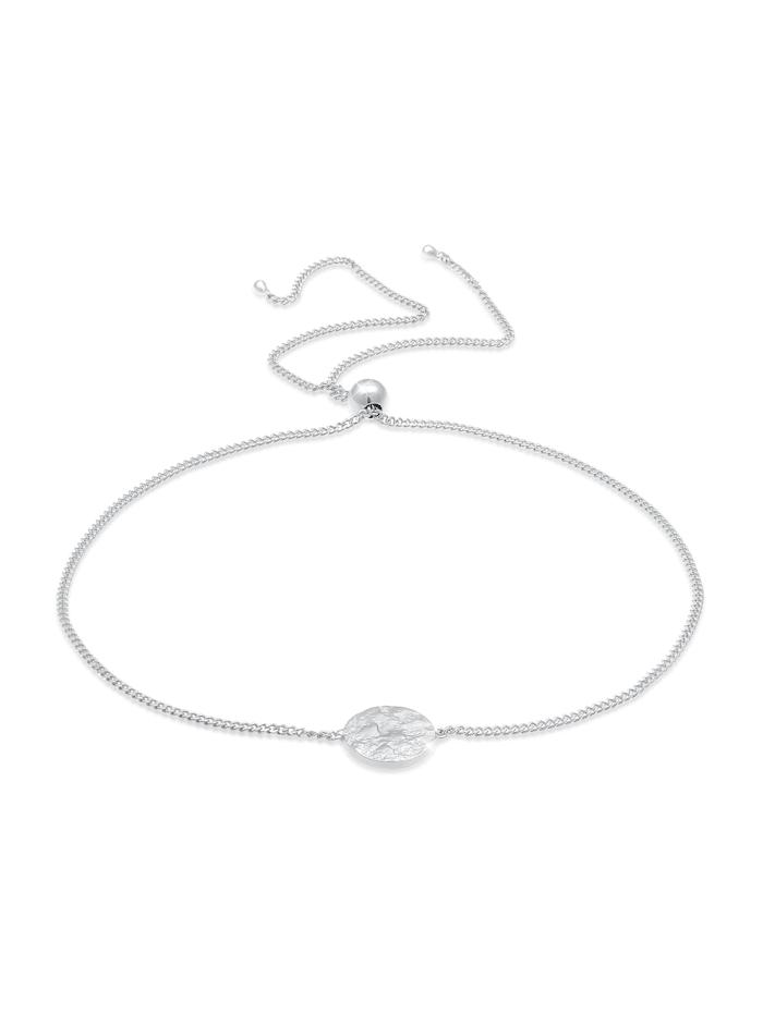 Elli Armband Plättchen Rund Matt Organic Trend 925 Silber, Silber