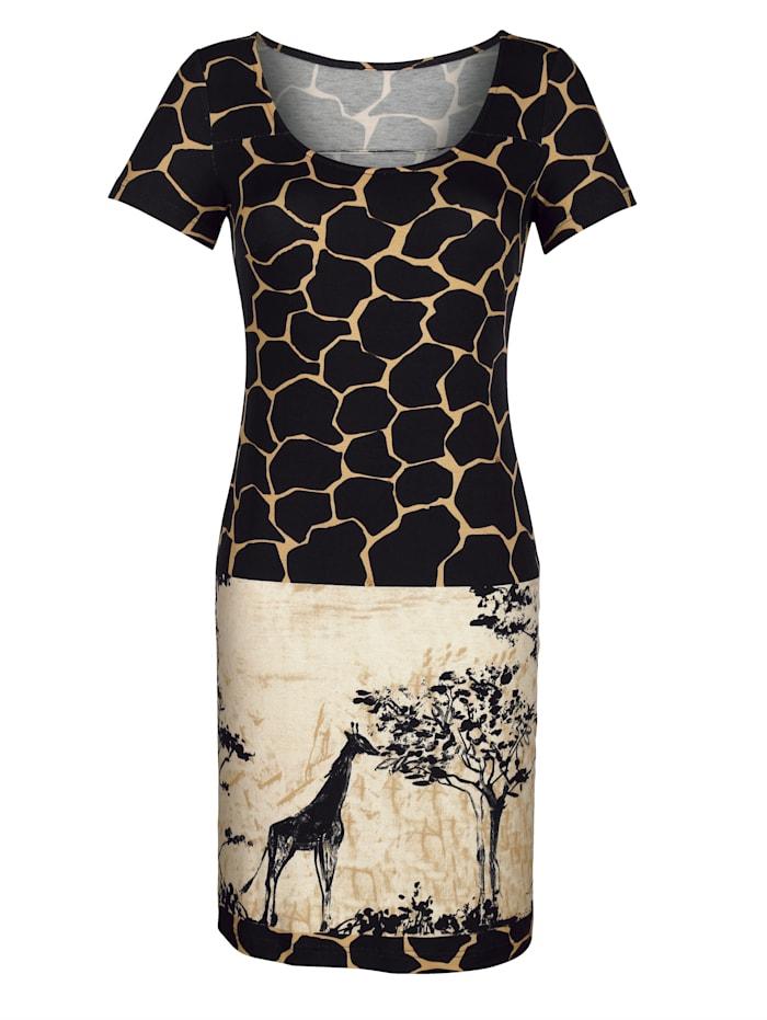 Alba Moda Strandkleid mit Motivdruck, Braun-Schwarz