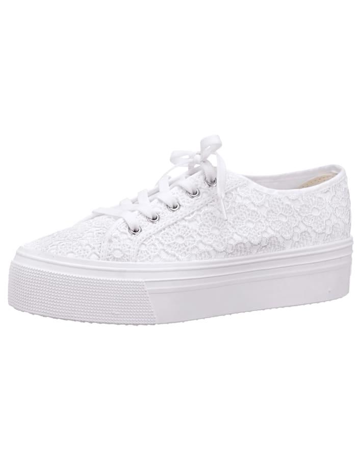 Športová obuv so vsadenou kvetinovou čipkou, Biela